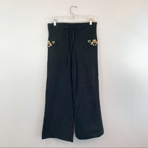 Olive Jane Embroidered Black Sweat Pants Joggers